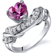 Heart Shape 1.75 carats Pink Sapphire Cubic Zirconia Sterling Silver Ring in Sizes 5 to 9 Style SR10366