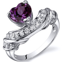 Heart Shape 1.75 carats Alexandrite Cubic Zirconia Sterling Silver Ring in Sizes 5 to 9 Style SR10368