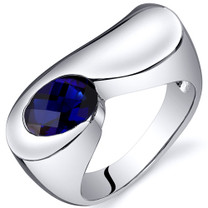 Artistic 1.75 carats Blue Sapphire Sterling Silver Ring in Sizes 5 to 9 Style SR10382