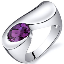 Artistic 1.75 carats Alexandrite Sterling Silver Ring in Sizes 5 to 9 Style SR10386