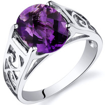 2.25 carats Amethyst Solitiare Sterling Silver Ring in Sizes 5 to 9 Style SR10406
