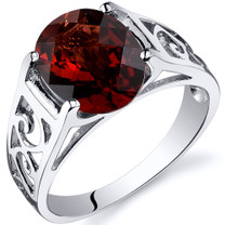 3.00 carats Garnet Solitiare Sterling Silver Ring in Sizes 5 to 9 Style SR10408