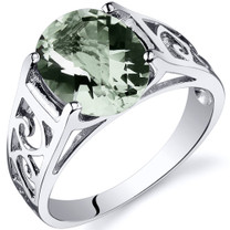 2.25 carats Green Amethyst Solitiare Sterling Silver Ring in Sizes 5 to 9 Style SR10410