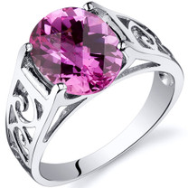 3.50 carats Pink Sapphire Solitiare Sterling Silver Ring in Sizes 5 to 9 Style SR10418