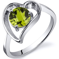 Heart Shape 0.75 carats Peridot Solitaire Sterling Silver Ring in Sizes 5 to 9 Style SR10426