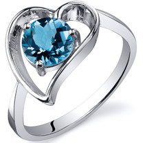Heart Shape 1.00 carats Swiss Blue Topaz Solitaire Sterling Silver Ring in Sizes 5 to 9 Style SR10428