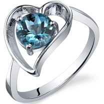 Heart Shape 1.00 carats London Blue Topaz Solitaire Sterling Silver Ring in Sizes 5 to 9 Style SR10430