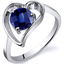 Heart Shape 1.25 carats Blue Sapphire Solitaire Sterling Silver Ring in Sizes 5 to 9 Style SR10434