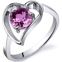 Heart Shape 1.00 carats Pink Sapphire Solitaire Sterling Silver Ring in Sizes 5 to 9 Style SR10436