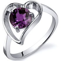 Heart Shape 1.00 carats Alexandrite Solitaire Sterling Silver Ring in Sizes 5 to 9 Style SR10438