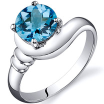 Smooth Seduction 1.50 carats Swiss Blue Topaz Solitaire Sterling Silver Ring in Sizes 5 to 9 Style SR10446