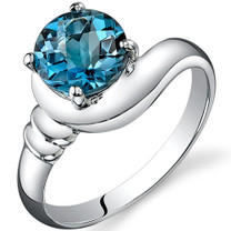 Smooth Seduction 1.50 carats London Blue Topaz Solitaire Sterling Silver Ring in Sizes 5 to 9 Style SR10448