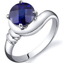 Smooth Seduction 1.75 carats Blue Sapphire Solitaire Sterling Silver Ring in Sizes 5 to 9 Style SR10452