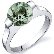 Bezel Set 1.75 carats Green Amethyst Engagement Sterling Silver Ring in Sizes 5 to 9 Style SR10462