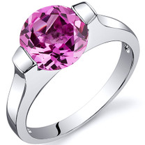 Bezel Set 2.75 carats Pink Sapphire Engagement Sterling Silver Ring in Sizes 5 to 9 Style SR10472