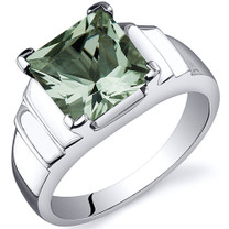 Step Design Princess Cut 2.00 carats Green Amethyst Sterling Silver Ring in Sizes 5 to 9 Style SR10498