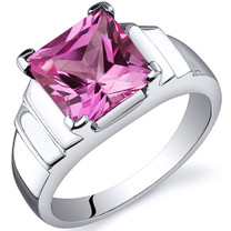 Step Design Princess Cut 3.25 carats Pink Sapphire Sterling Silver Ring in Sizes 5 to 9 Style SR10508