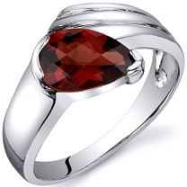 Contemporary Pear Shape 1.50 carats Garnet Sterling Silver Ring in Sizes 5 to 9 Style SR10514