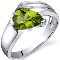 Contemporary Pear Shape 1.25 carats Peridot Sterling Silver Ring in Sizes 5 to 9 Style SR10516