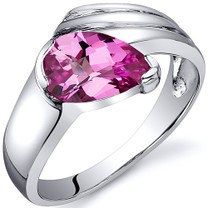 Contemporary Pear Shape 1.75 carats Pink Sapphire Sterling Silver Ring in Sizes 5 to 9 Style SR10526