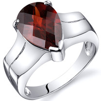 Brilliant 3.50 carats Garnet Solitaire Sterling Silver Ring in Sizes 5 to 9 Style SR10532