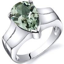 Brilliant 2.50 carats Green Amethyst Solitaire Sterling Silver Ring in Sizes 5 to 9 Style SR10534