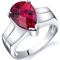 Brilliant 3.75 carats Ruby Solitaire Sterling Silver Ring in Sizes 5 to 9 Style SR10540
