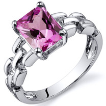 Chain Link Design 2.00 carats Pink Sapphire Engagement Sterling Silver Ring in Sizes 5 to 9 Style SR10560