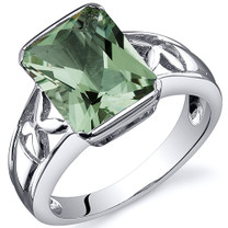 Large Radiant Cut 2.75 carats Green Amethyst Solitaire Sterling Silver Ring in Sizes 5 to 9 Style SR10568