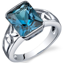 Large Radiant Cut 3.50 carats London Blue Topaz Solitaire Sterling Silver Ring in Sizes 5 to 9 Style SR10572