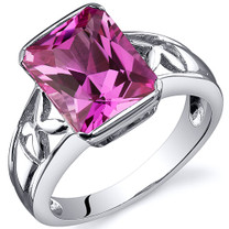 Large Radiant Cut 4.00 carats Pink Sapphire Solitaire Sterling Silver Ring in Sizes 5 to 9 Style SR10576