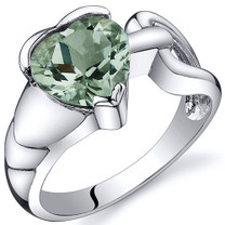 Love Knot Style 1.50 carats Green Amethyst Sterling Silver Ring in Sizes 5 to 9 Style SR10584