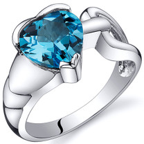 Love Knot Style 2.00 carats Swiss Blue Topaz Sterling Silver Ring in Sizes 5 to 9 Style SR10586