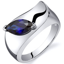 Musuem Style Marquise Cut 1.25 carats Blue Sapphire Sterling Silver Ring in Sizes 5 to 9 Style SR10610