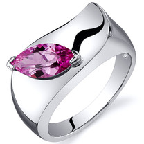 Musuem Style Marquise Cut 1.25 carats Pink Sapphire Sterling Silver Ring in Sizes 5 to 9 Style SR10612