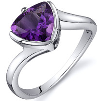 Trillion Cut Bypass Style 1.50 carats Amethyst Sterling Silver Ring in Sizes 5 to 9 Style SR10616