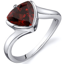 Trillion Cut Bypass Style 2.25 carats Garnet Sterling Silver Ring in Sizes 5 to 9 Style SR10618