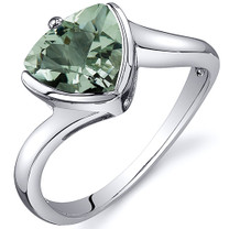 Trillion Cut Bypass Style 1.50 carats Green Amethyst Sterling Silver Ring in Sizes 5 to 9 Style SR10620