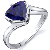 Trillion Cut Bypass Style 2.50 carats Blue Sapphire Sterling Silver Ring in Sizes 5 to 9 Style SR10628