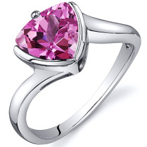 Trillion Cut Bypass Style 2.50 carats Pink Sapphire Sterling Silver Ring in Sizes 5 to 9 Style SR10630