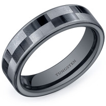 Black and Silver Checkerboard Pattern 6mm Mens Tungsten Ring Sizes 8 to 13 Style SR10636
