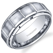 Classic Sectional Design Brushed Finish 8mm Mens Tungsten Ring Sizes 8 to 13 Style SR10642