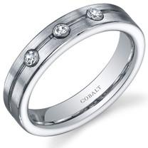 Classic 3 Stone 5mm Platinum Finish Mens Cobalt Ring Sizes 8 to 13 Style SR10650