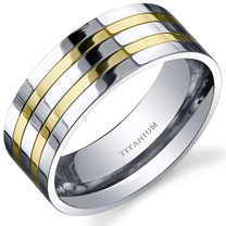 Traditional Mens 8mm Titanium Two Tone Ring Sizes 8 to 13 Style SR10658