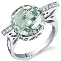 Double Checkerboard 4.50 Carats Green Amethyst Sterling Silver Ring in Sizes 5 to 9 Style SR10668