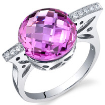 Double Checkerboard 7.00 Carats Pink Sapphire Sterling Silver Ring in Sizes 5 to 9 Style SR10676