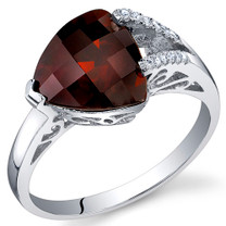 Dazzling Color 3.00 Carats Trillion Cut Garnet Sterling Silver Ring in Sizes 5 to 9 Style SR10678