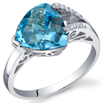 Dazzling Color 2.50 Carats Trillion Swiss Blue Topaz Sterling Silver Ring in Sizes 5 to 9 Style SR10680