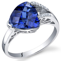 Dazzling Color 3.25 Carats Trillion Blue Sapphire Sterling Silver Ring in Sizes 5 to 9 Style SR10684