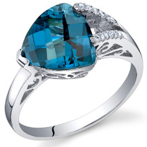 Dazzling Color 2.75 Carats Trillion London Blue Topaz Sterling Silver Ring in Sizes 5 to 9 Style SR10686